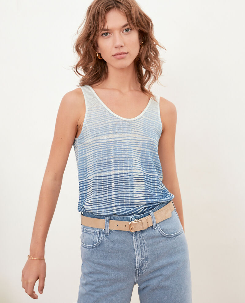 Camiseta de lino con tirantes Tie&dye washed blue Fagoton