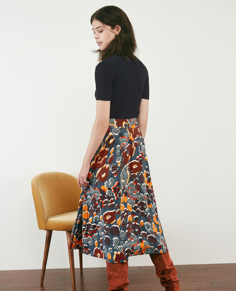 Falda midi estampada Shaft curcuma Dacteur