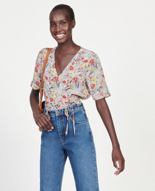 Blusa de seda motivo floral con escote cruzado PRINT EDEN CREAM