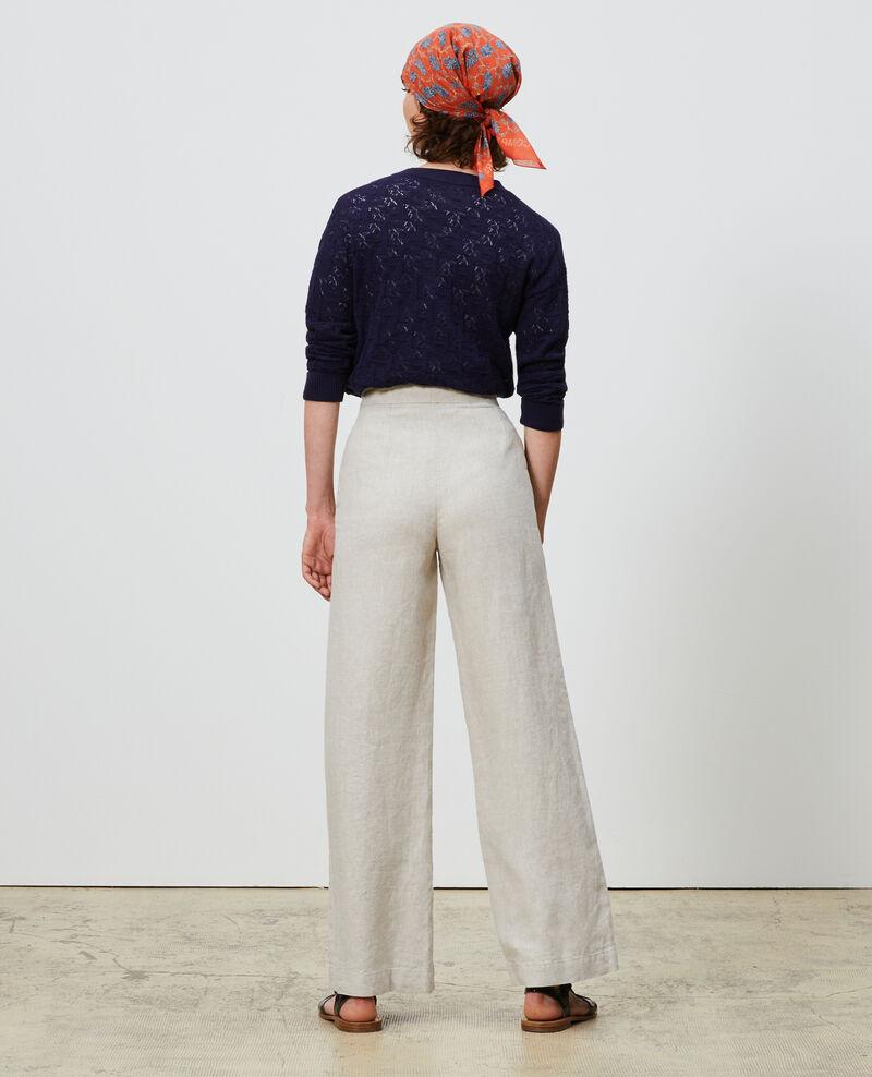 Pantalón de lino con talle alto Natural linen Neronde