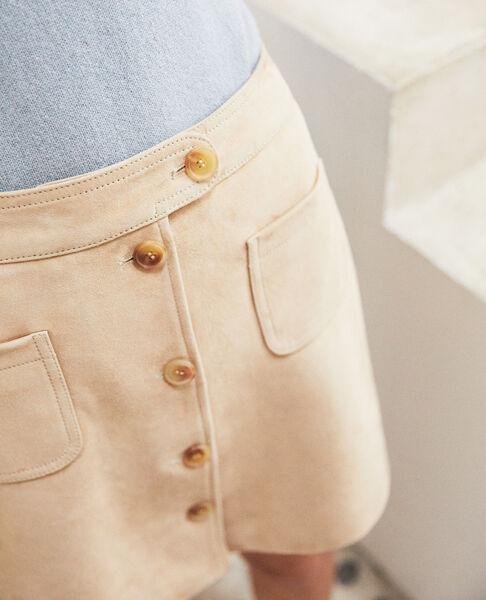 Comptoir des Cotonniers - Falda corta de ante Camel beige - 4