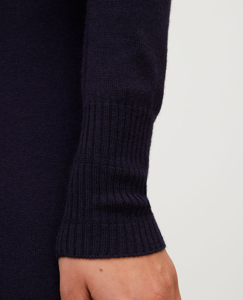 Vestido evasé de lana merino con cuello redondo Night sky Malouy