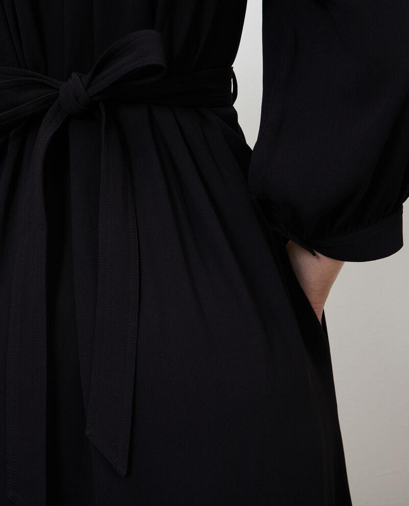 Vestido largo fluido con cinturón Black beauty Nature