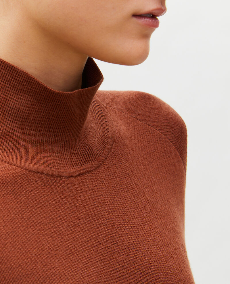 Jersey de lana merino con cuello subido Tortoise shell Malleville