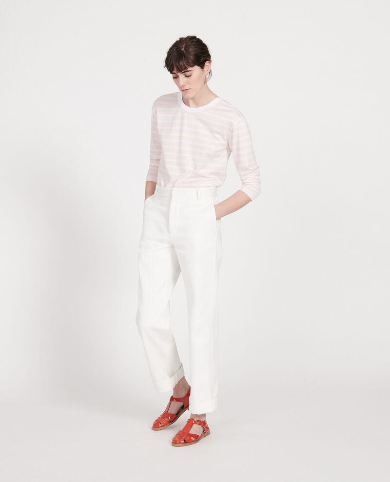 Camiseta de algodón Stripes primrose pink optical white Lana