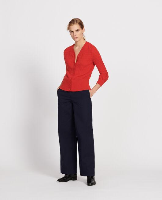 Cárdigan con escote de pico, 100% cachemir  FIERY RED