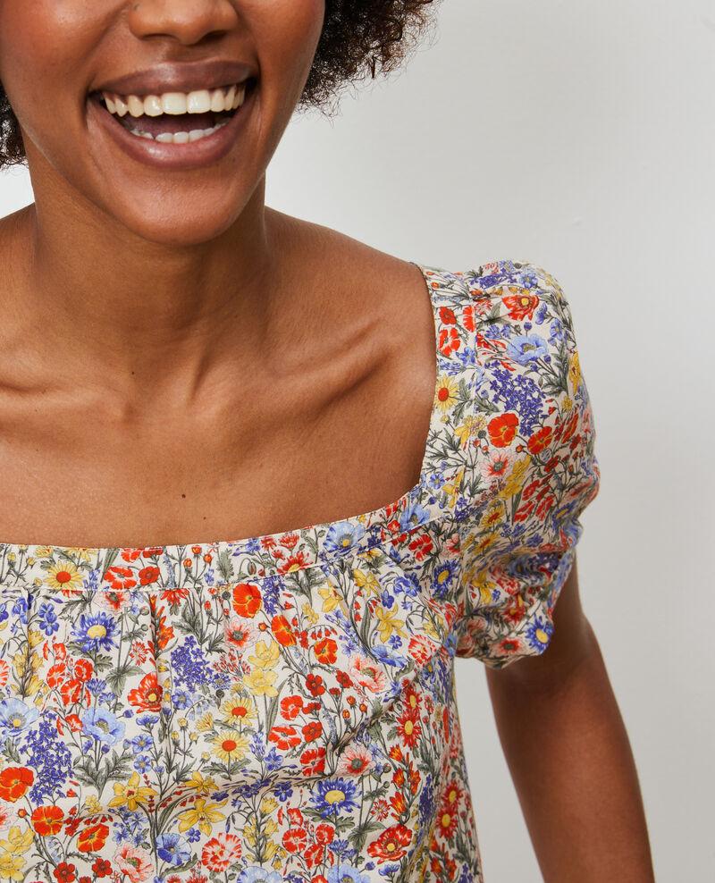 Vestido corto de algodón y seda Prairie gardenia Neffa