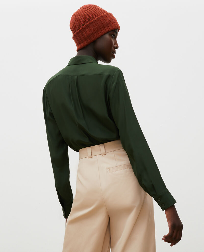 Camisa masculina de seda con manga larga Military green Moriges