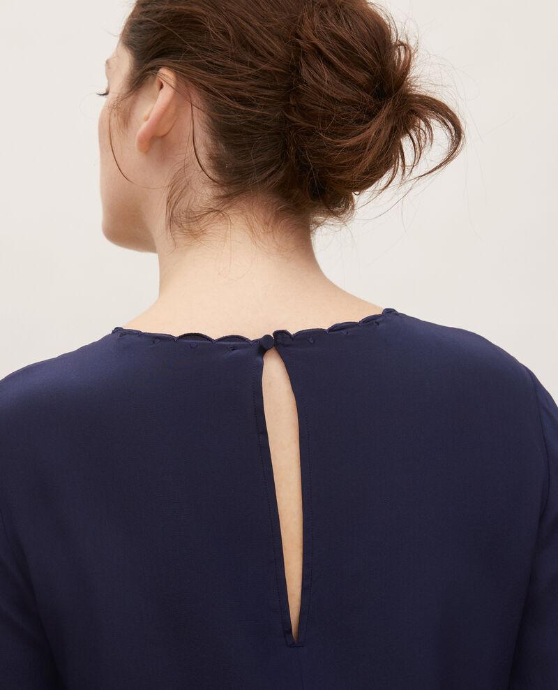 Blusa bordada de seda Maritime blue Lolape