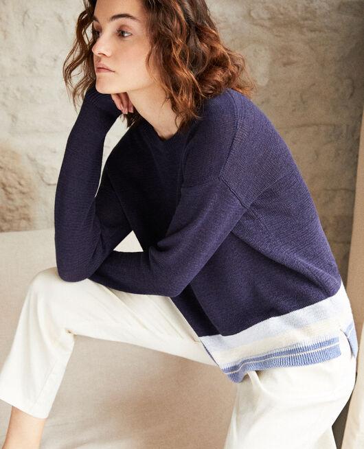Jersey de lino con cuello redondo INK NAVY