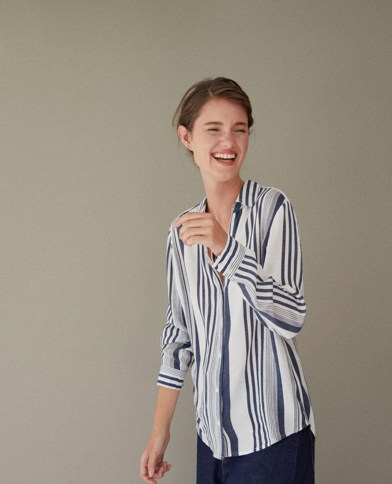 Camisa rayada Indigo/white Crepon