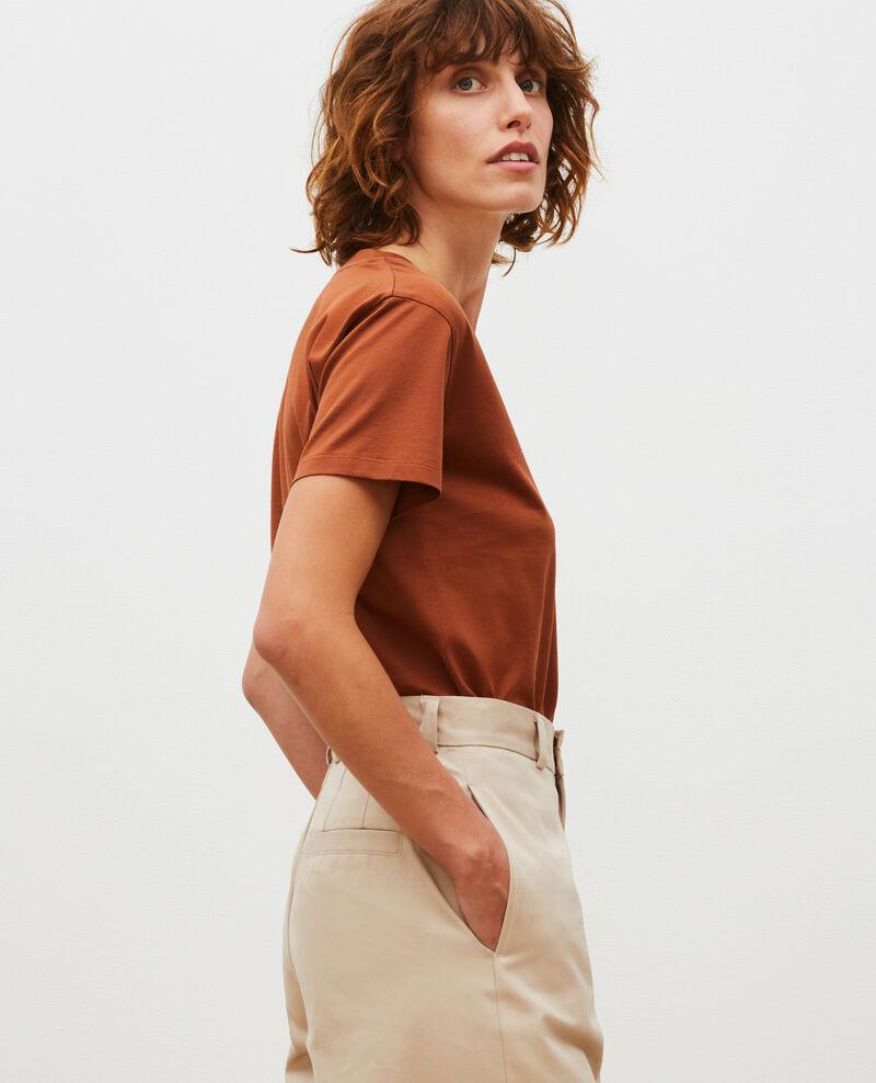 Camiseta de algodón con cuello de pico Tortoise shell Laberne