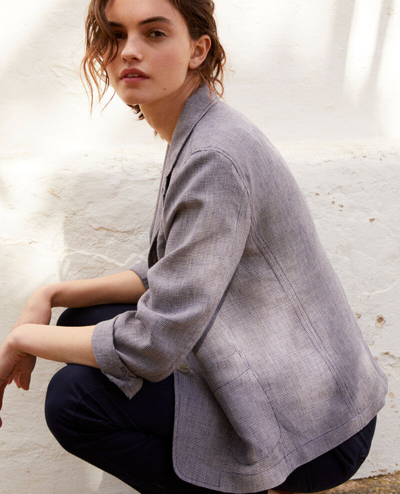 Veste de costume en lin Natural linen/ink navy Ikarus
