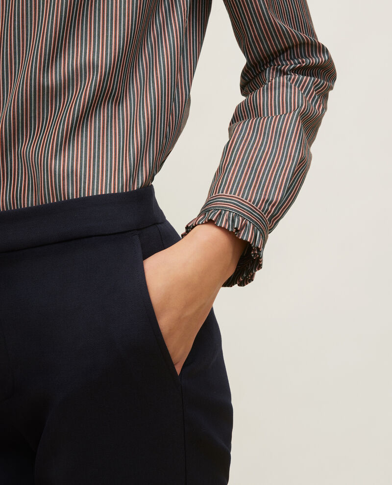 Camisa de algodón cuello subido con volante Stripes3 scarab Marcenarai