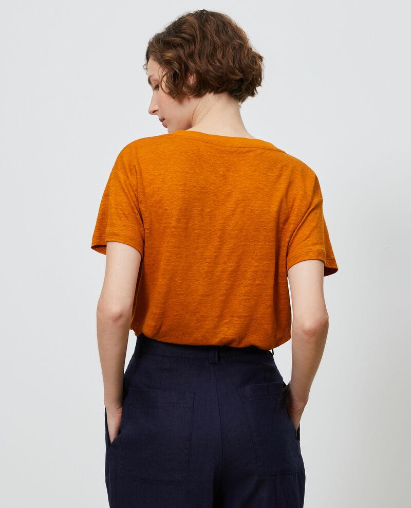 Camiseta de lino con cuello de pico Pumpkin spice Locmelar