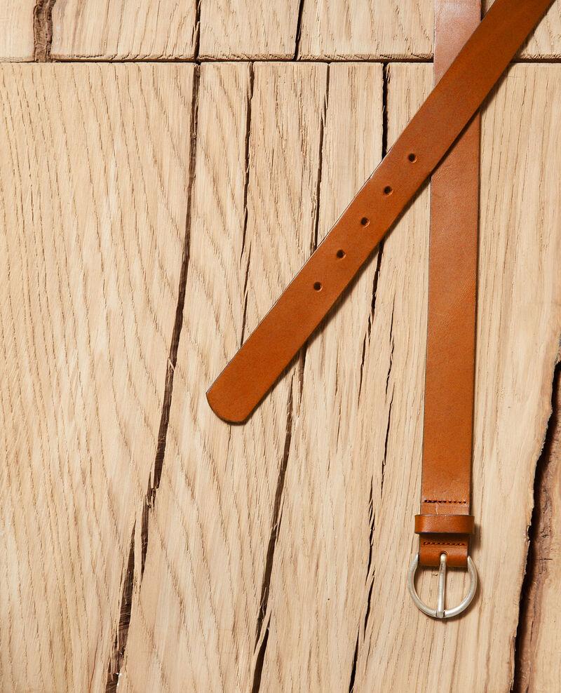 Cinturón de piel lisa tamaño grande Camel Girouette