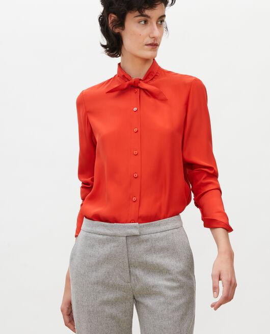 Blusa de seda con manga larga y cuello para atar VALIANT POPPY