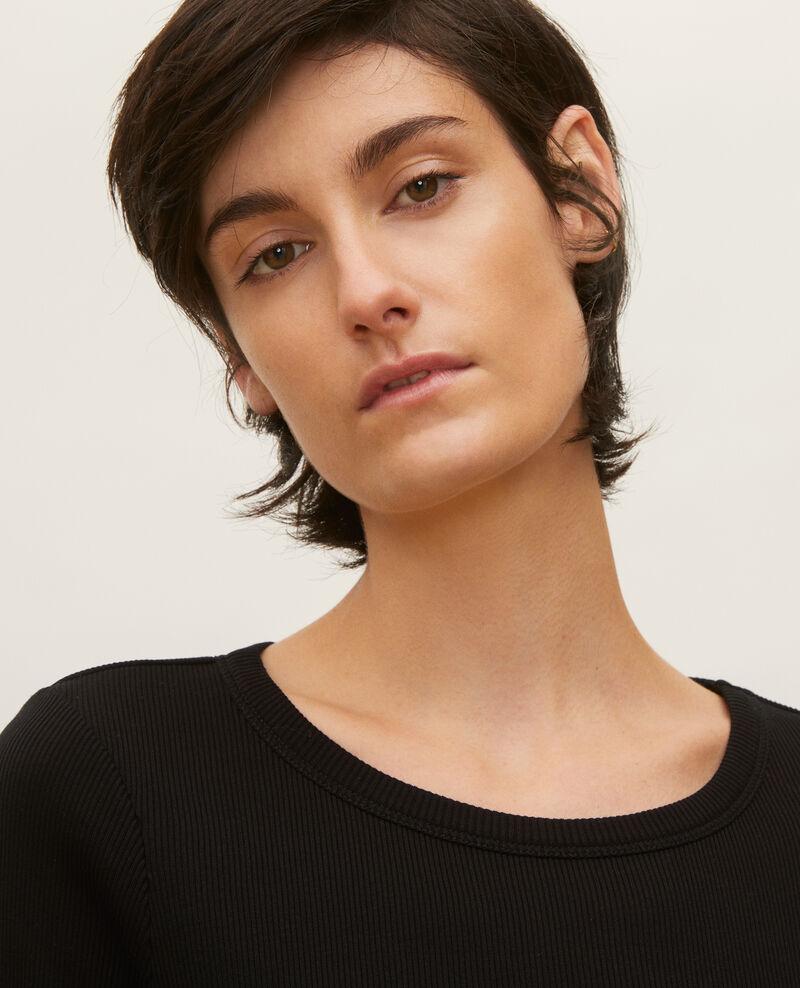 Camiseta fino canalé de algodón mercerizado Black beauty Lasso