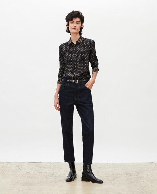 Jeans rectos lavados de talle alto con 5 bolsillos DENIM RINSE