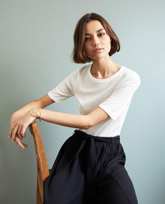 Camiseta canalé  OFF WHITE