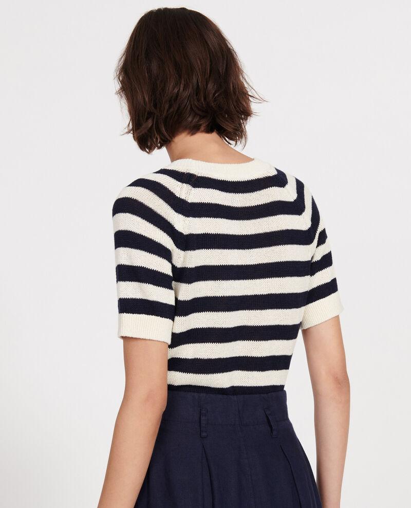 Jersey de algodón y lino Stripes maritime blue buttercream Licula