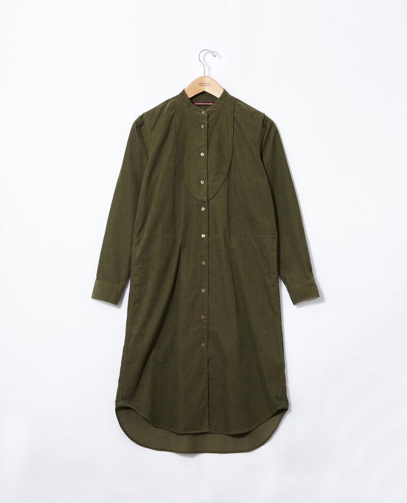Vestido de terciopelo con cuello mao Verde Goiselle