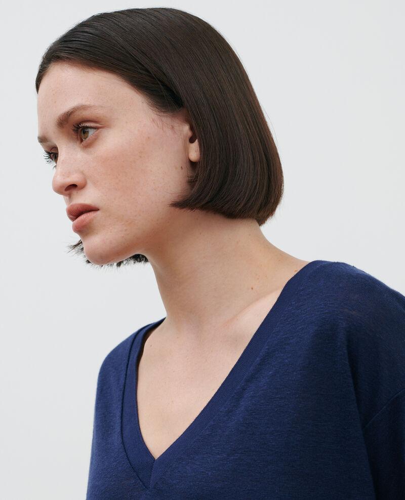 Camiseta de lino con cuello de pico Maritime blue Locmelar
