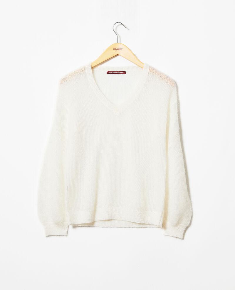 Jersey de cuello de pico con mohair Off white Iceve