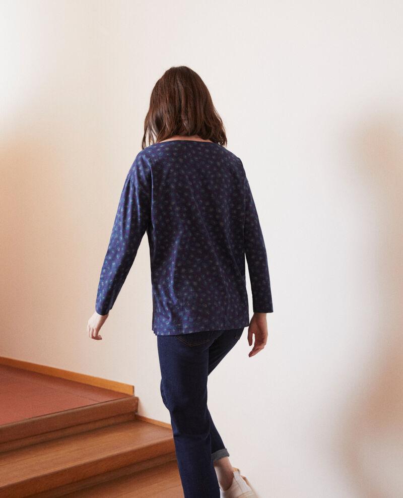 Camiseta de cuello redondo Azul Gleopardo