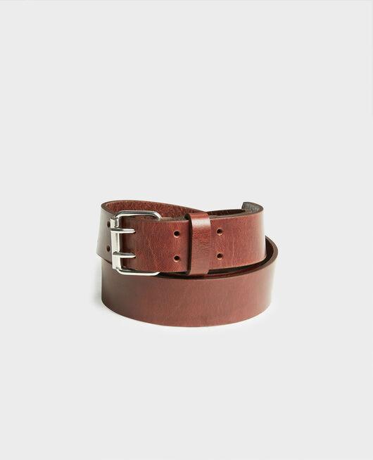 Cinturón de cuero con hebilla rectangular COFFEE BEAN