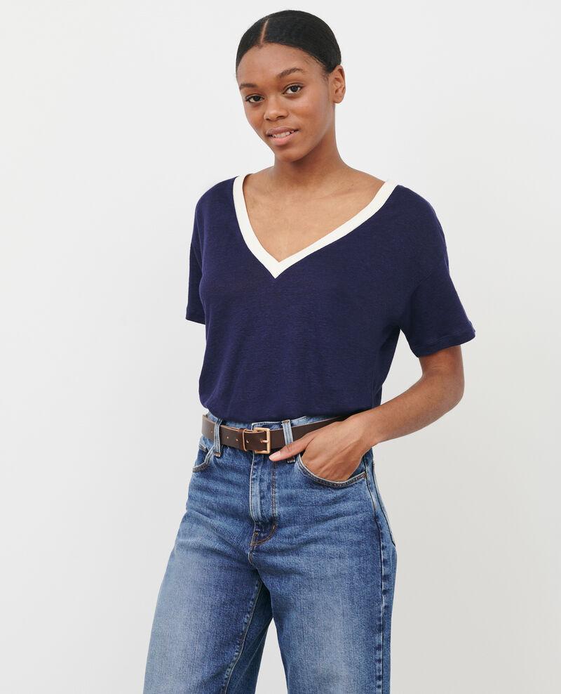 Camiseta de lino con cuello de pico Str maritime butter Locmelar