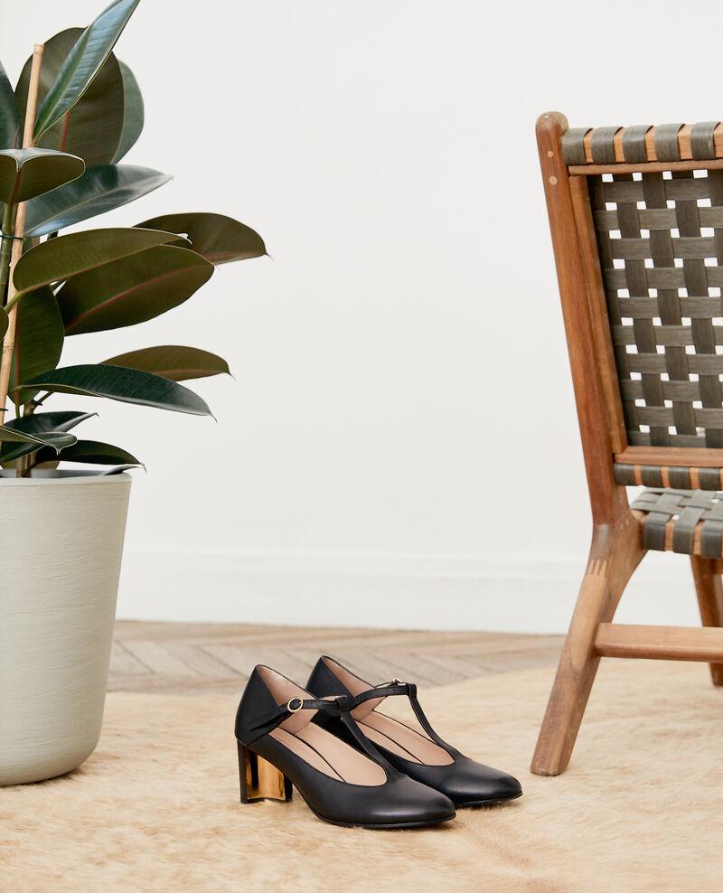 Zapatos estilo Salomé de piel Noir Fillette