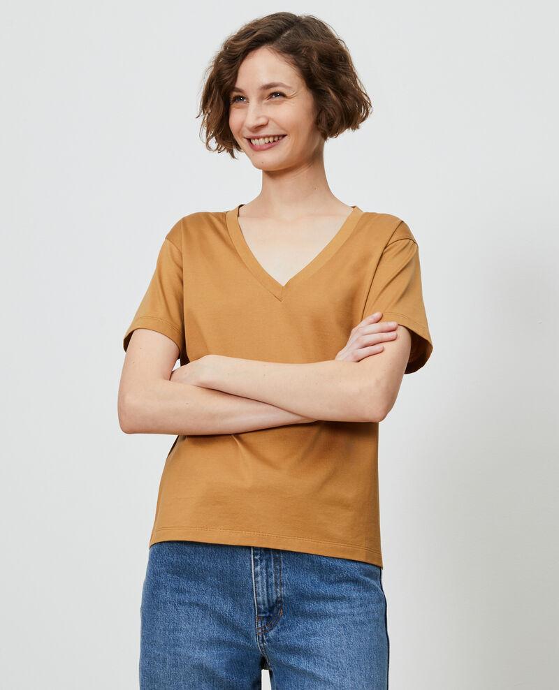 Camiseta de algodón con cuello de pico Latte Laberne
