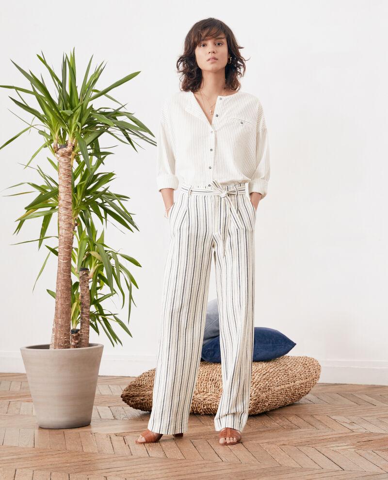 Pantalón ancho rayado Off white/navy stripes Francis