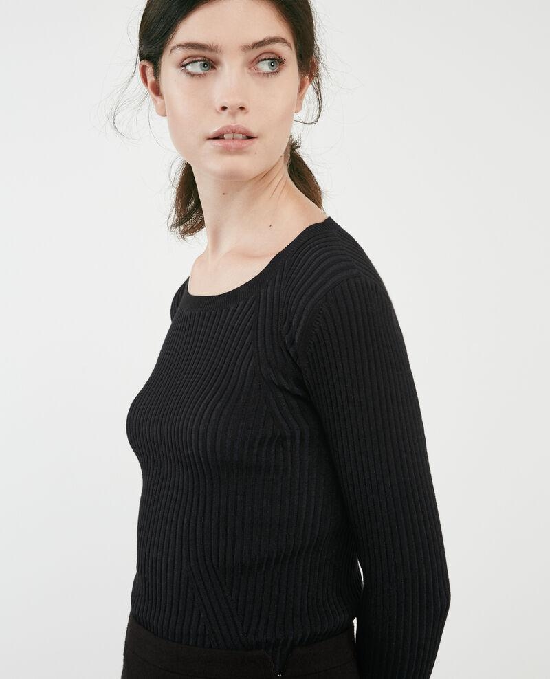 Jersey de canalé con dos colores Noir Dominos