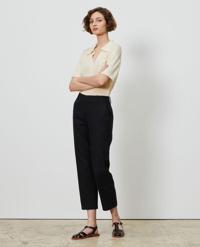 Pantalón MARGUERITE de lino y algodón con longitud 7/8 Black beauty Laiguillon
