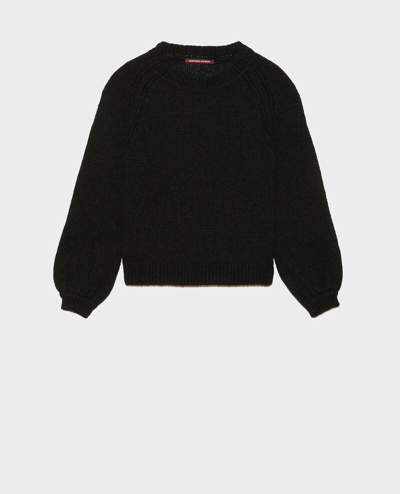 Jersey ancho de lana con escote de barco Black beauty Mombrier