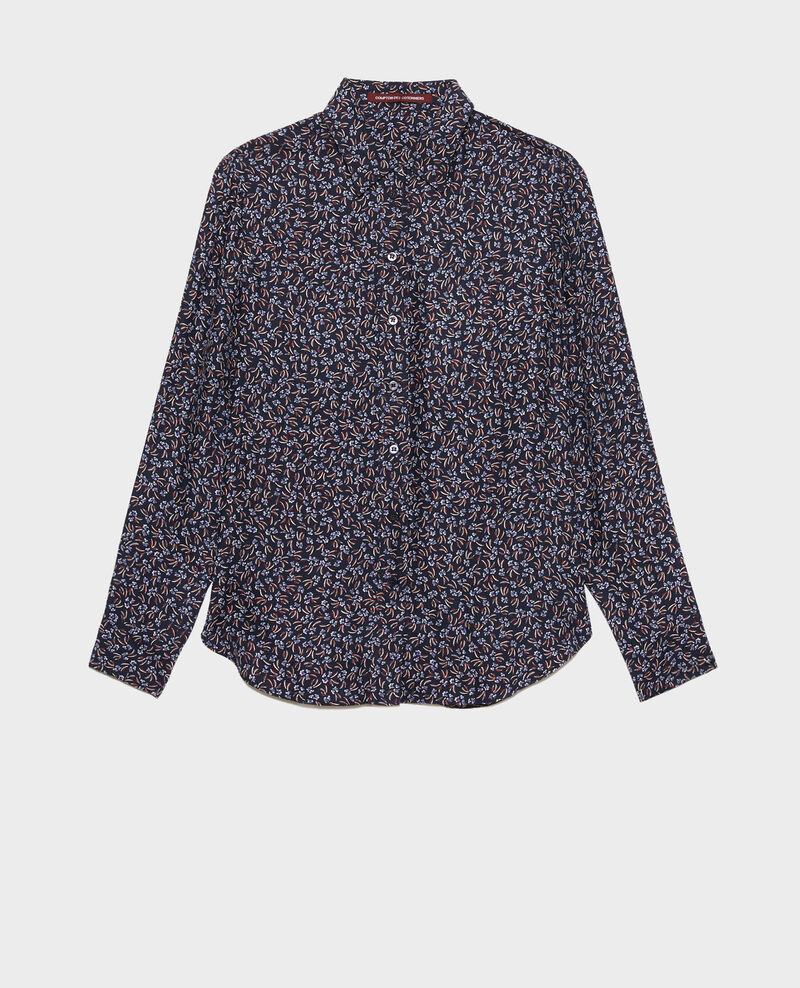 SIBYLLE - Camisa de seda con estampado Clochette navy Nabilo
