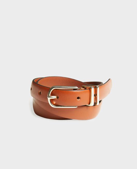 Cinturón de cuero con hebilla y presillas de metal dorado BRANDY BROWN