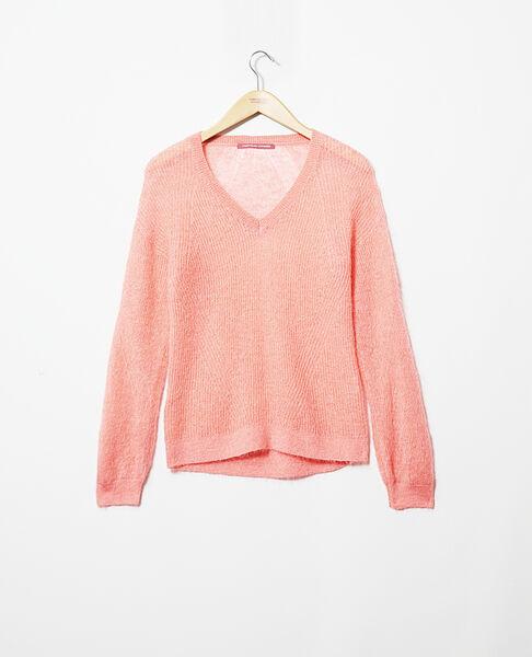 Comptoir des Cotonniers - Jersey de cuello de pico con mohair Salmon pink - 2