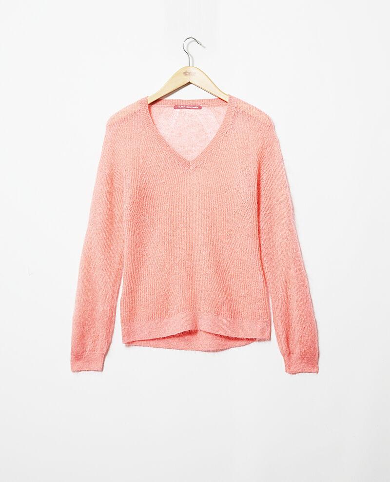 Jersey de cuello de pico con mohair Salmon pink Iceve