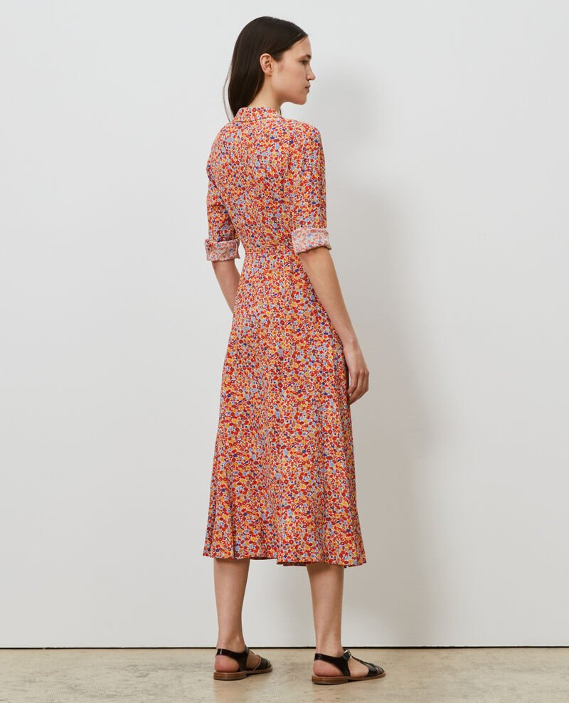 Vestido largo camisero con estampado Garden royalblue Narbonnie