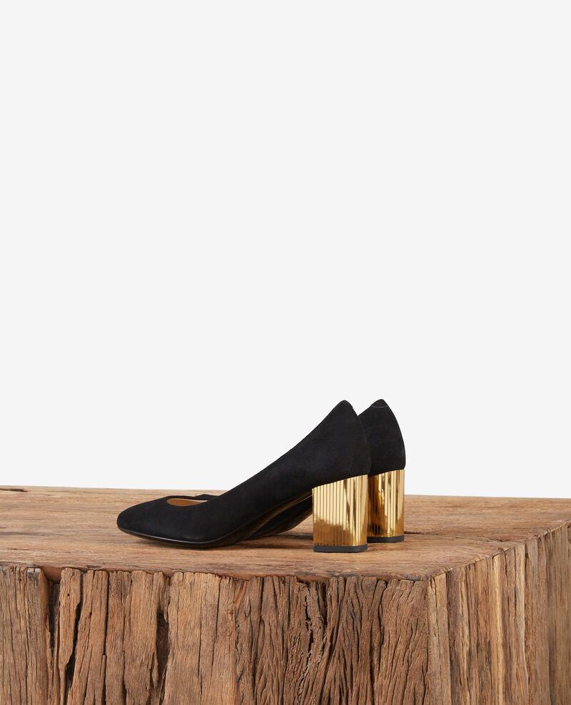 Zapatos de salón de ante con tacón metálico Noir/gold Dedisco