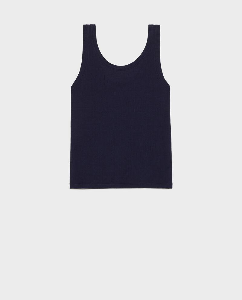 Camiseta de tirantes de algodón mercerizado con canalé Maritime blue Locon