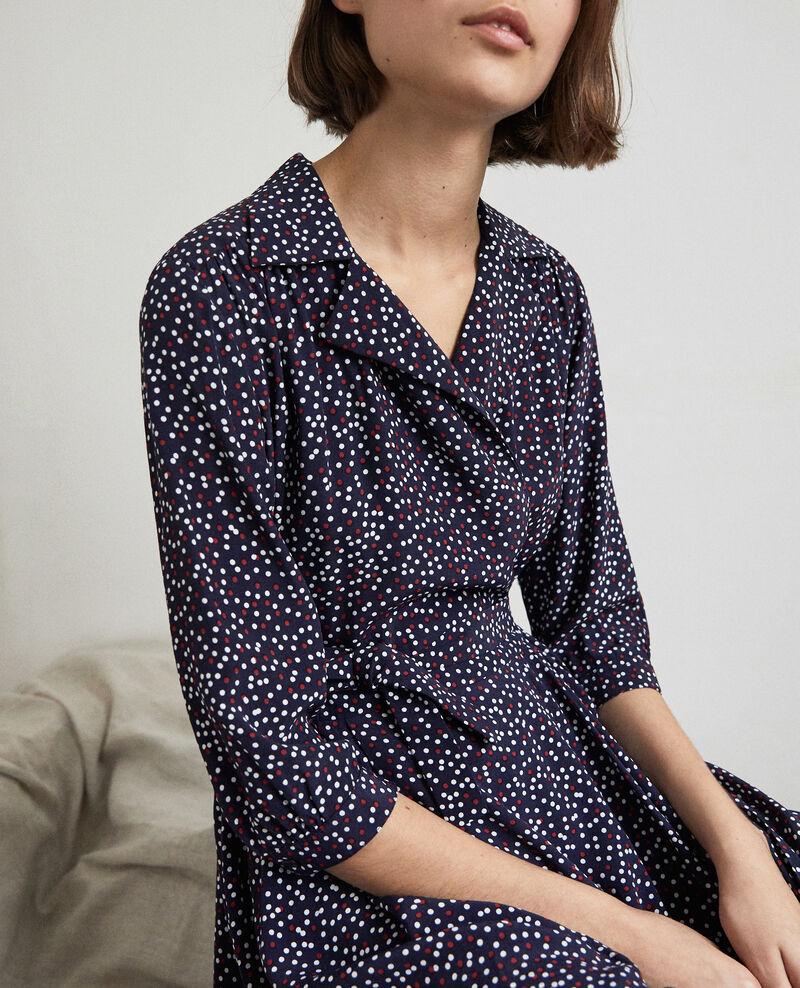Robe portefeuille Dot print navy Ipage