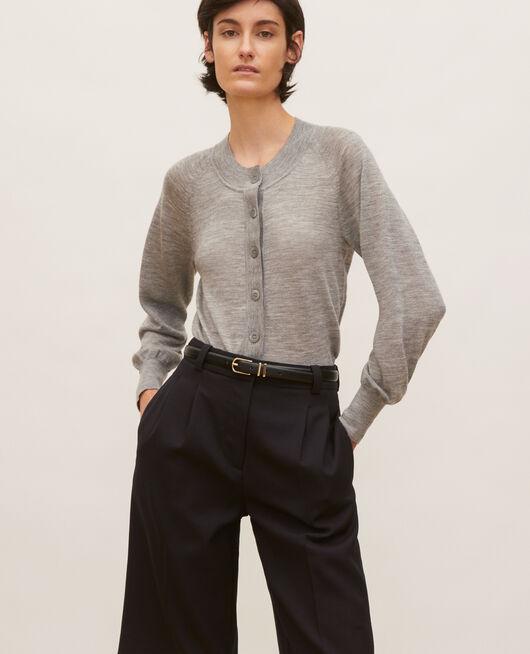 Cárdigan de lana merino con cuello redondo LIGHT GREY MELANGE