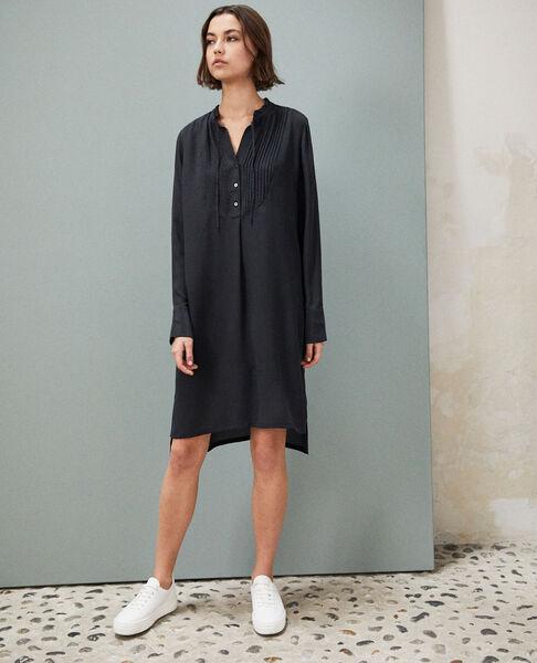 Comptoir des Cotonniers - Vestido de seda con pechera Noir - 4
