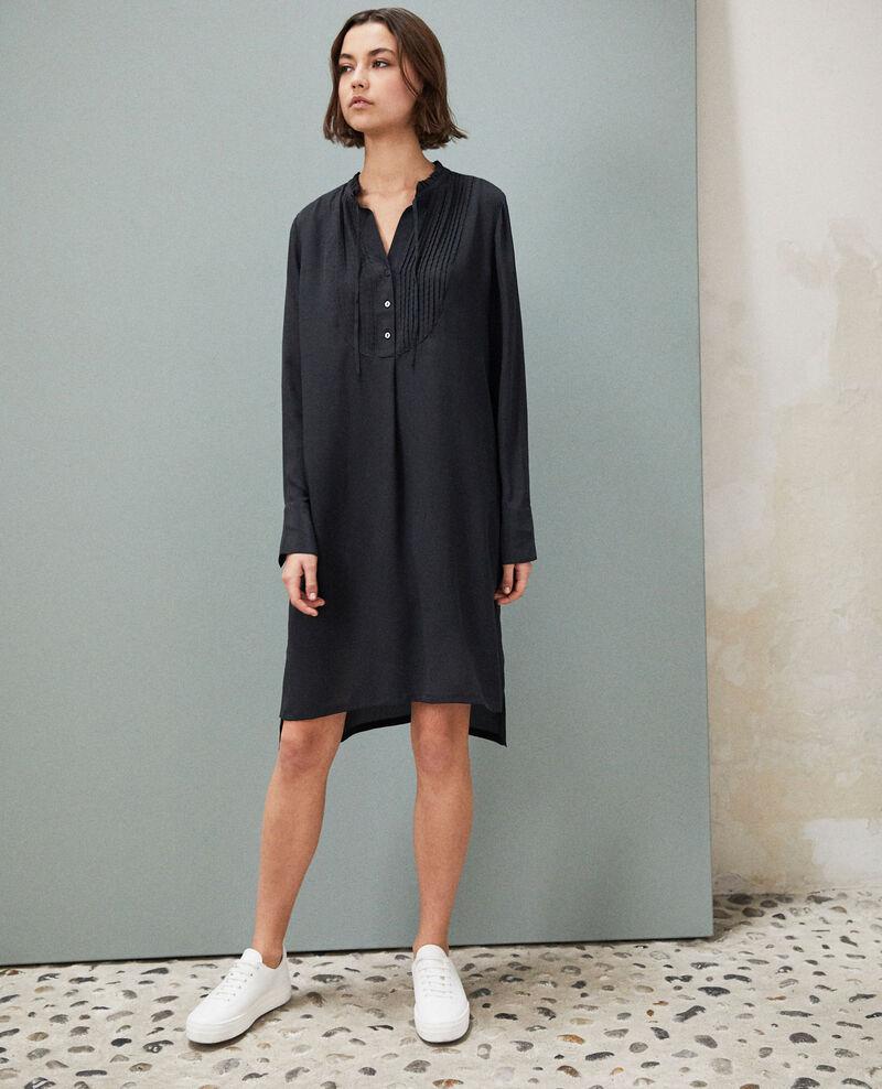 Vestido de seda con pechera Noir Isabella