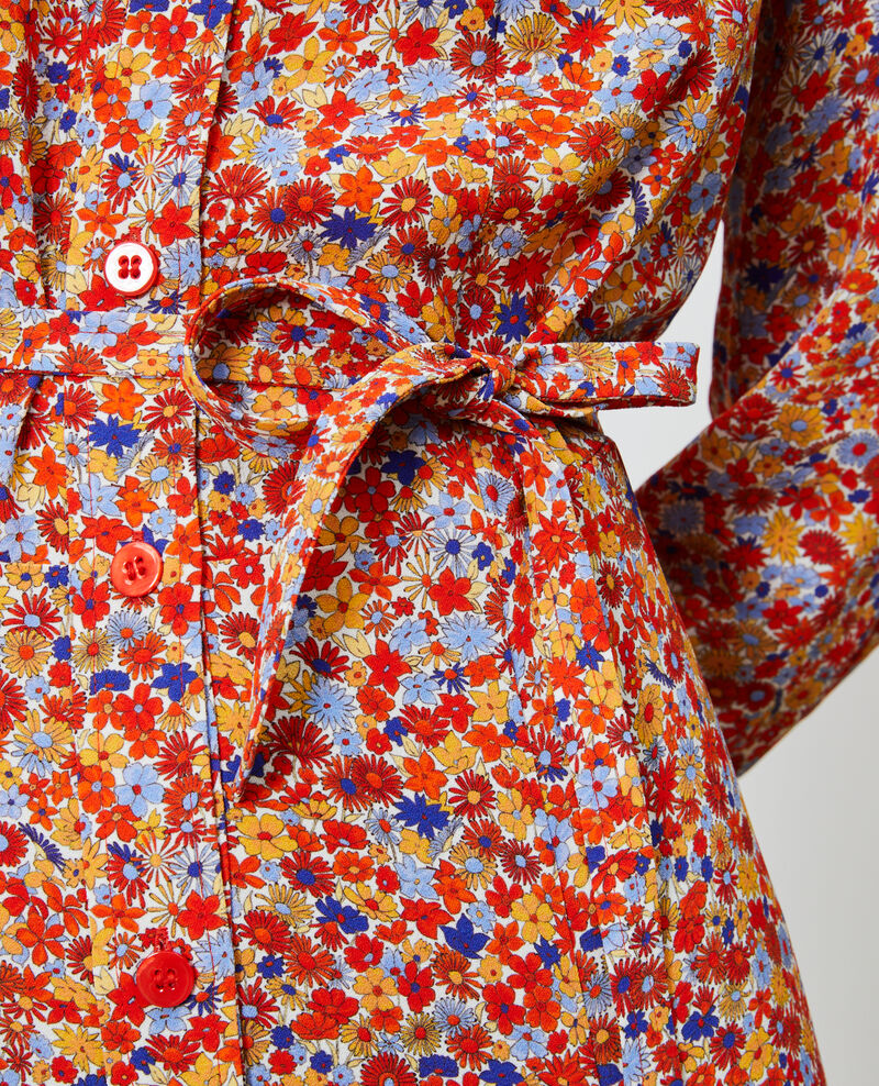 Vestido largo camisero con estampado Garden royalblue Narbonnie