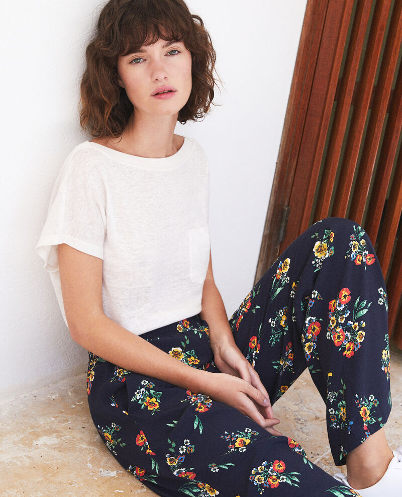 Pantalón estilo pijama Azul Flower